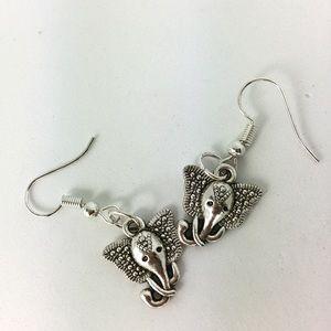 3/$15 Silver Tone Elephant Head Earrings